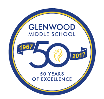 Logo with text: Glenwood Middle School 50 years of Excellence 1967-2017